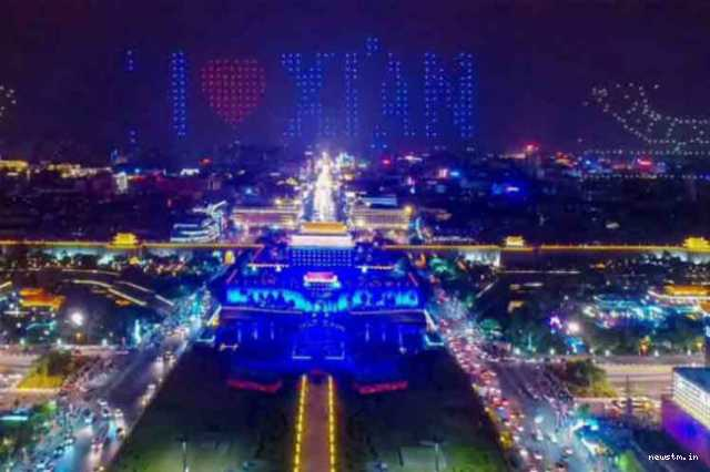 new-record-1-374-drones-dance-over-ancient-city-wall-of-xi-an
