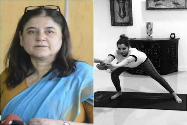maneka-gandhi-lauds-sania-mirza-for-practising-prenatal-yoga