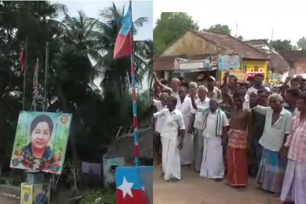 struggle-for-removing-party-flag-posts-in-udaiyaloor-shop-street