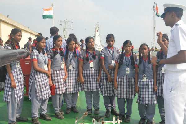children-visit-coast-guard-ship-on-rising-day