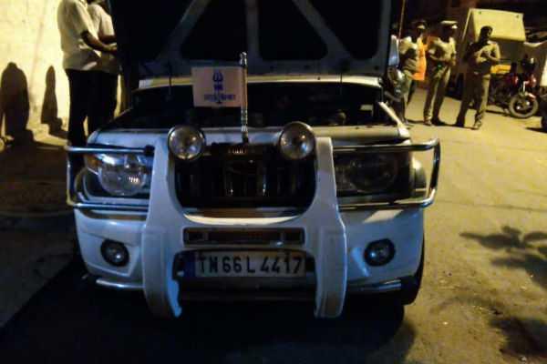 bharat-sena-state-secretary-s-car-was-put-on-fire
