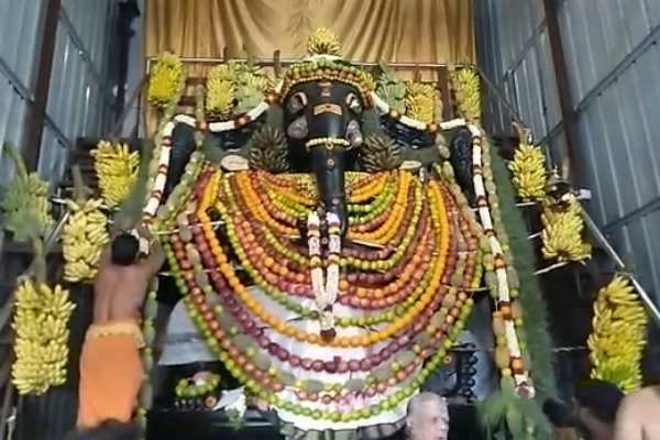 2-tons-of-fruit-decoration-on-biggest-vinayaka-in-asia