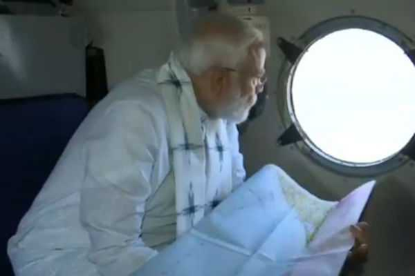 pm-narendra-modi-conducts-aerial-survey-of-cyclone-fani-affected-areas-in-odisha
