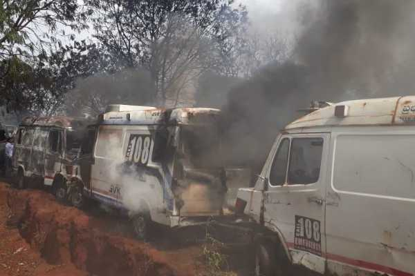 hyderabad-nearly-50-government-ambulance-vehicles-were-gutted-after-fire-broke-out