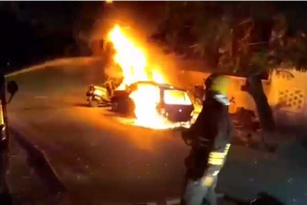 a-fire-broke-out-in-a-car-parked-on-the-road