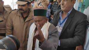 103-yr-old-shyam-saran-negi-from-himachal-pradesh-s-kalpa-casts-his-vote