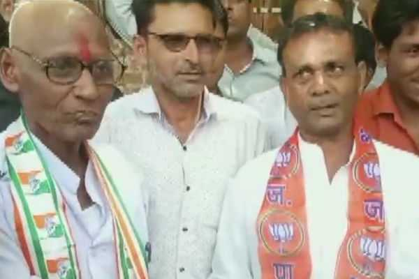 a-congress-worker-bl-sen-shaved-his-head-after-losing-a-bet-to-a-bjp-worker-in-rajgarh