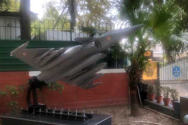 replica-of-rafale-jet-erected-outside-air-chief-marshal-bs-dhanoa-s-residence-in-delhi