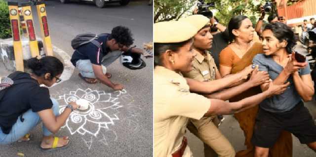 rangoli-against-caa-5-detained