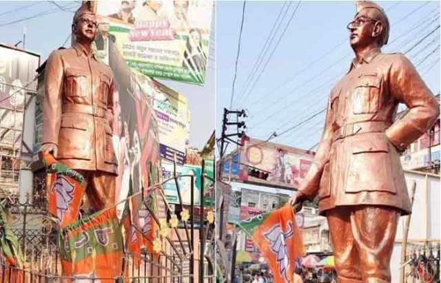 bjp-flag-in-nethaji-s-statue